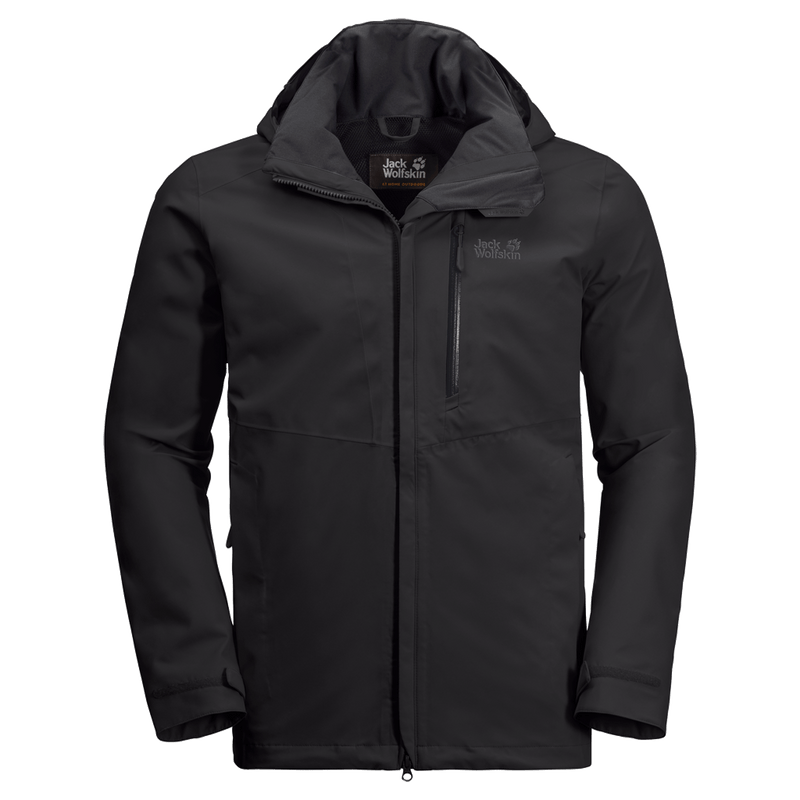 Jack Wolfskin - Men's  KEPLAR TRAIL JACKET - Black - Waterproof shell jacket from recycled fabric - Weekendbee - sustainable sportswear