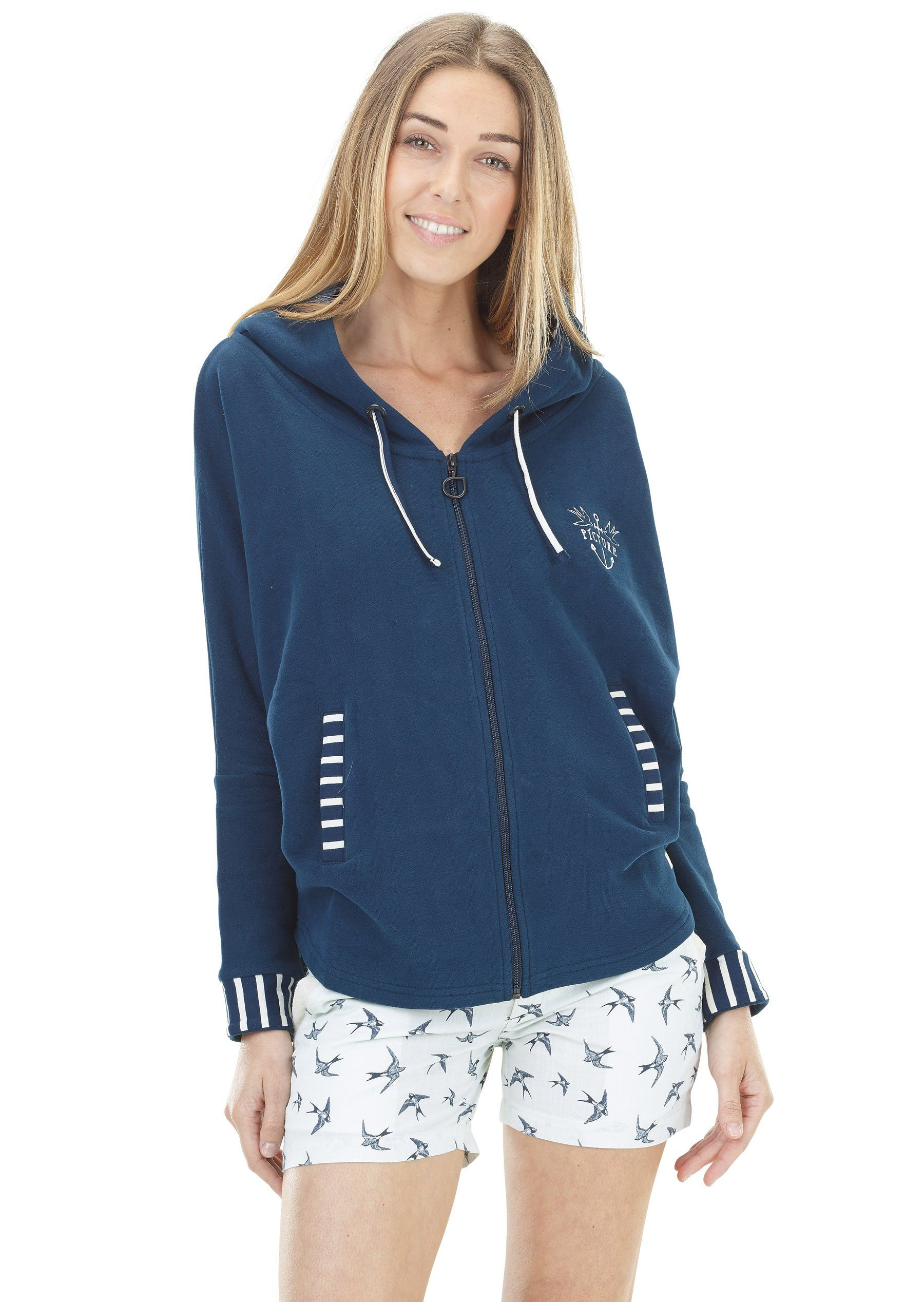 Picture Organic - Women's Alloa Hoodie - 100% Organic Cotton - Dark Blue - Weekendbee - sustainable sportswear