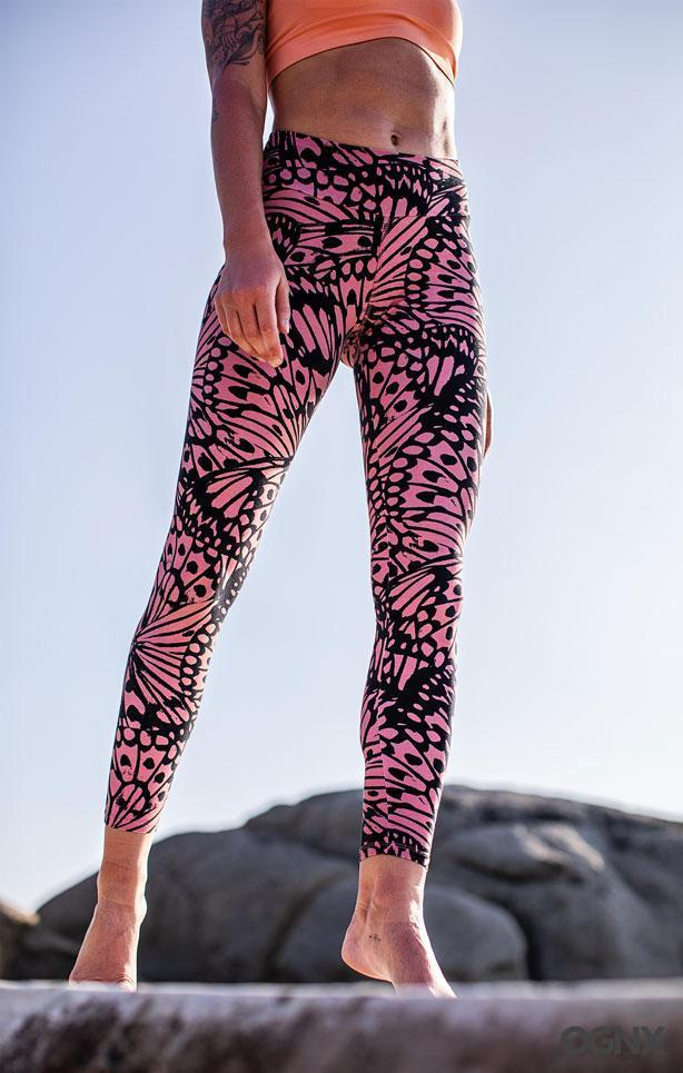 OGNX - Leggings Butterfly Coral - Organic cotton - Weekendbee - sustainable sportswear