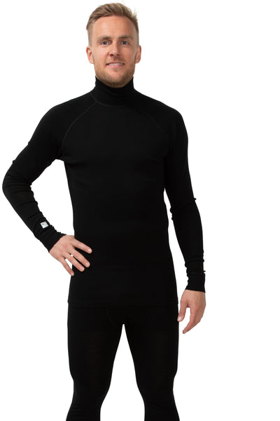 North Outdoor - Men's baselayer long neck shirt ACTIVE 210 - Black - 100 % merino wool - Weekendbee - sustainable sportswear