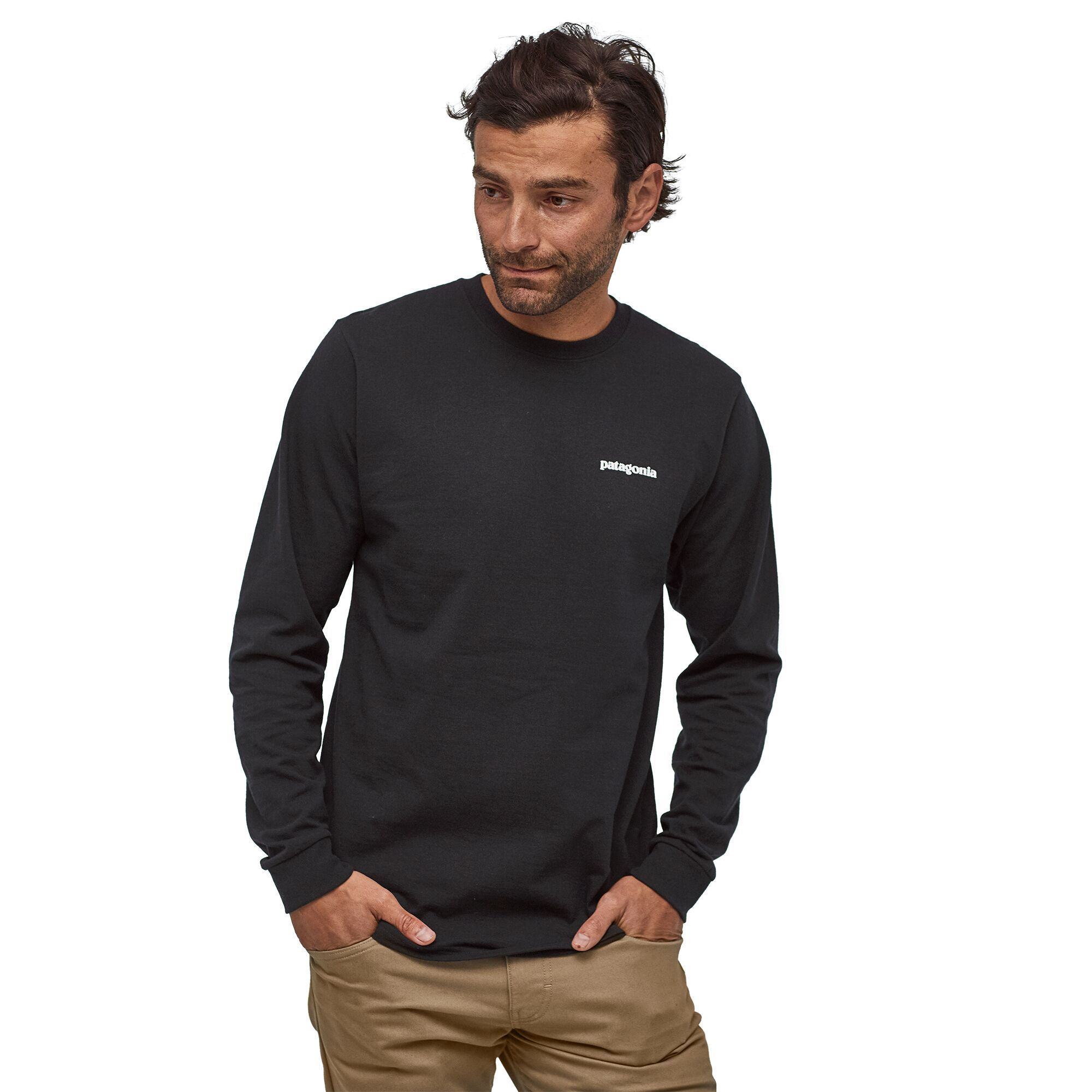 Patagonia - M's Long-Sleeved P-6 Logo Responsibili-Tee® - Recycled Polyester - Weekendbee - sustainable sportswear