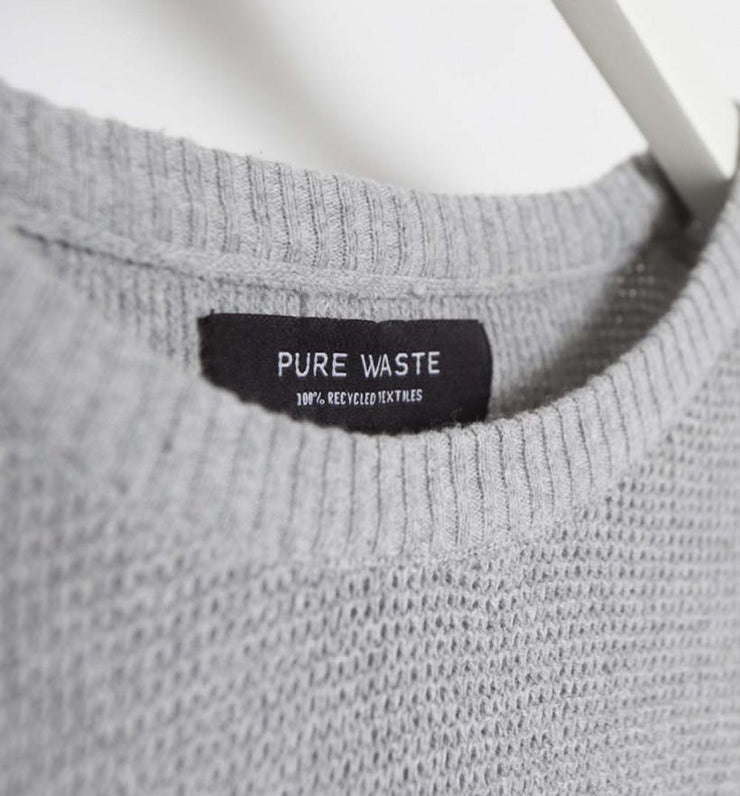 Pure Waste-Waffle Knit - Grey - 100 % recycled textile