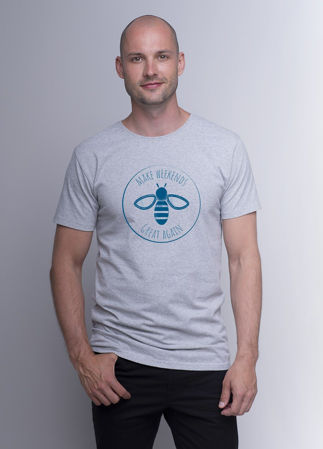 Weekendbee - Men's Make Weekends Great Again - T-Shirt - Grey - Weekendbee - sustainable sportswear