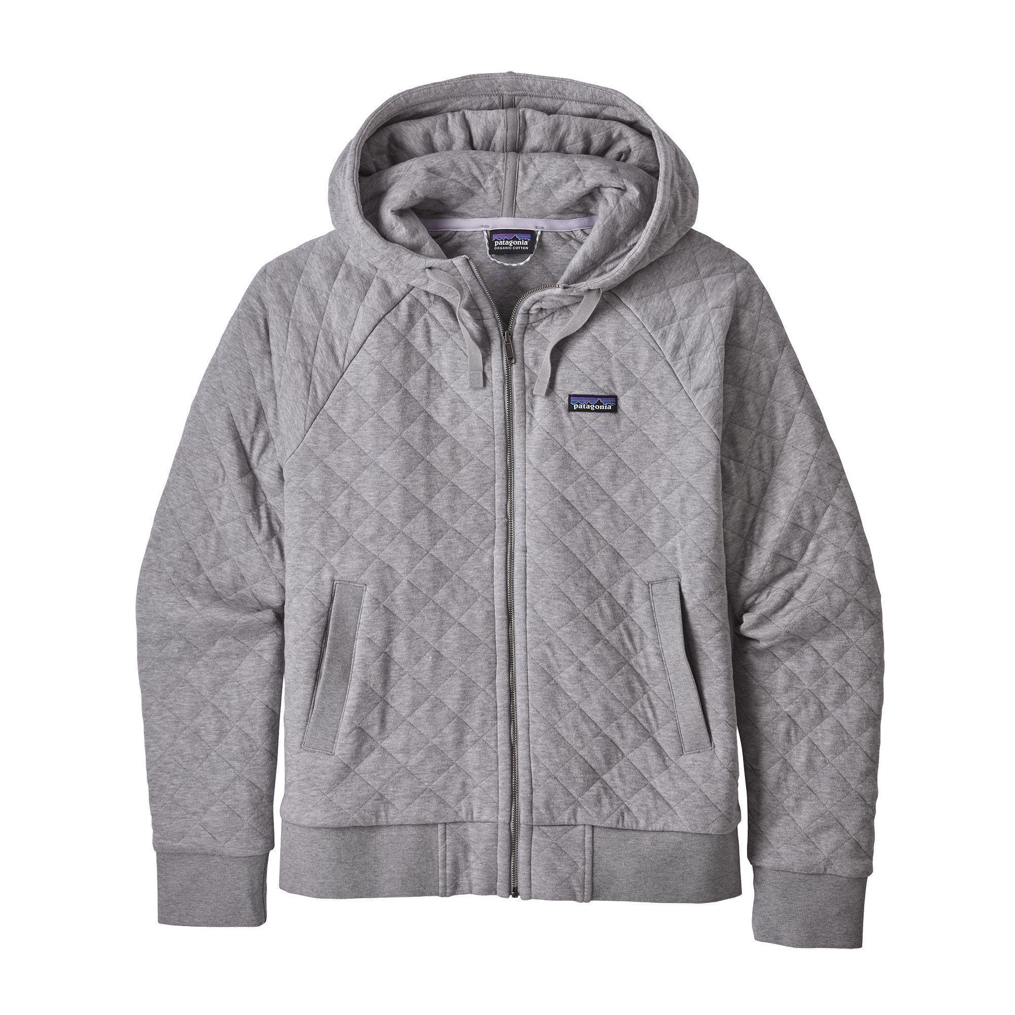 Patagonia - W's Organic Cotton Quilt Hoody - Drifter Grey - Organic cotton - Weekendbee - sustainable sportswear