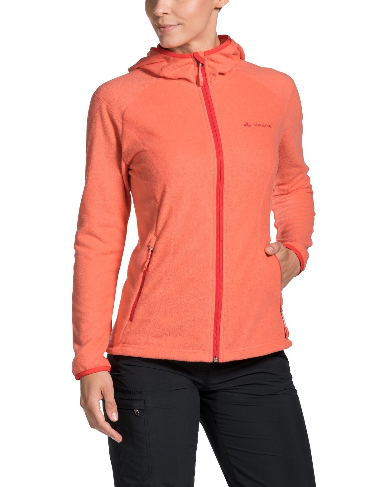 Vaude - Women's Sunbury Hoody Jacket - Apricot- made from high-quality fleece - Weekendbee - sustainable sportswear