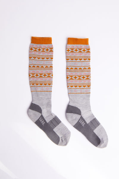 Varg - Women's Varg Winter Sport Sock - Grey/Pink/Orange - Merino Wool - Weekendbee - sustainable sportswear