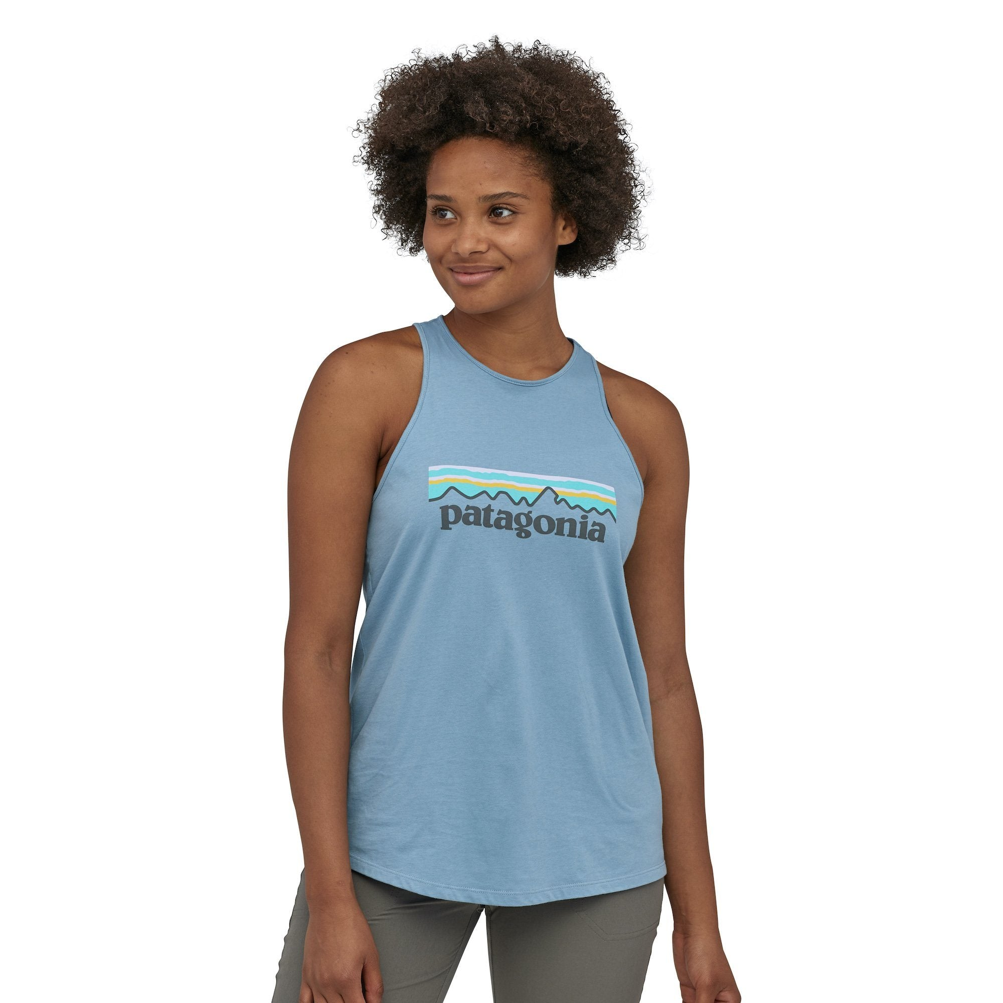 Patagonia - W's Pastel P-6 Logo Organic Cotton High Neck Tank Top - Weekendbee - sustainable sportswear
