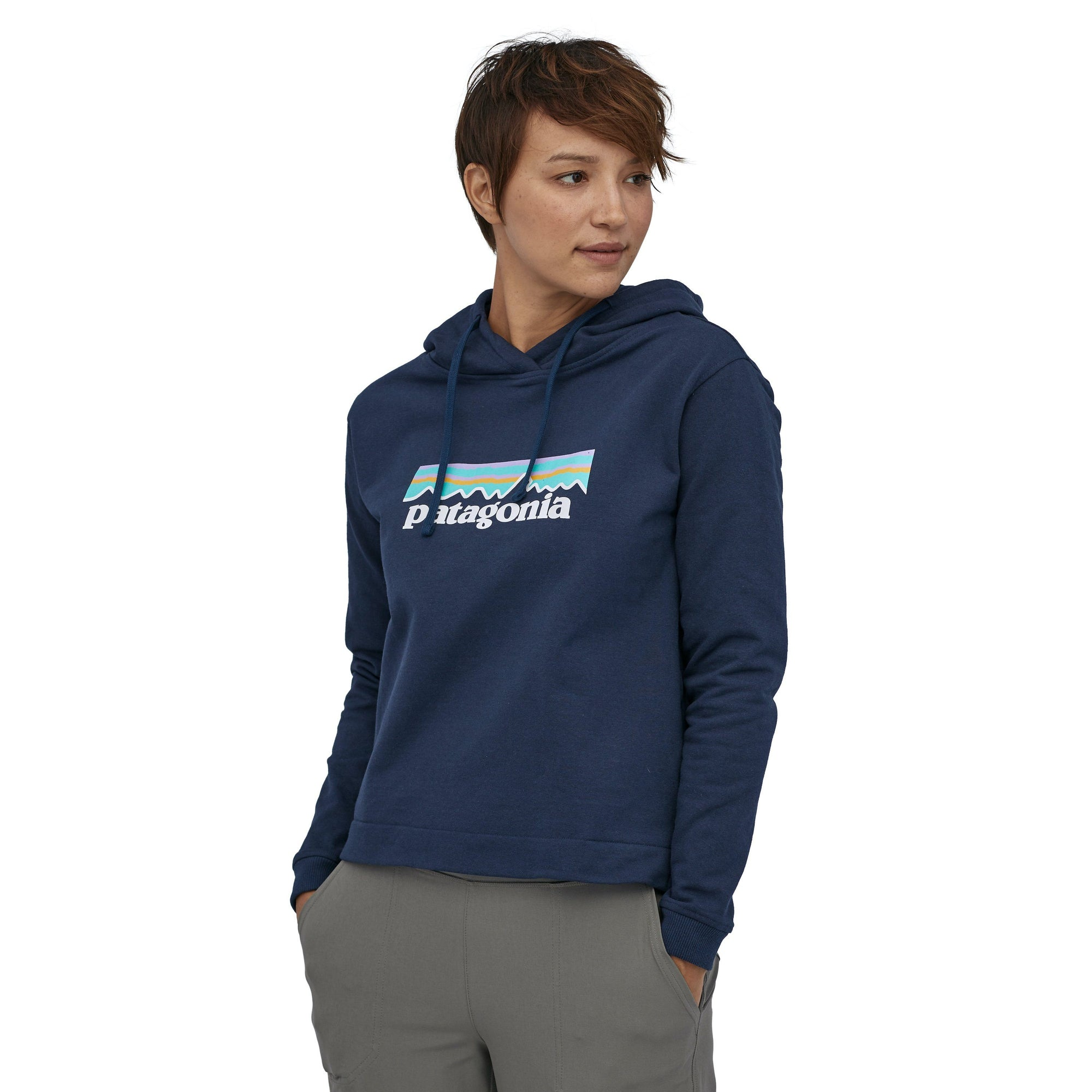 Patagonia - W's Pastel P-6 Logo Uprisal Hoody - Recycled cotton / Recycled polyester - Weekendbee - sustainable sportswear