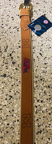 "Ole Miss Canvas and Leather Belt with Embossed ""M"" and Embroidered ""Ole Miss"""