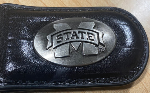 Mississippi State Bulldogs Crocodile Leather Magnetic Money Clip, Black