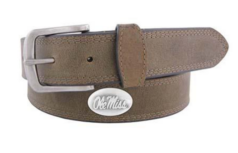 Ole Miss Rebels Crazy Horse Leather Belt, Light Brown
