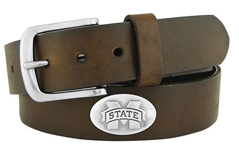 Mississippi State Bulldogs Zep-Pro Leather Concho Belt, Brown