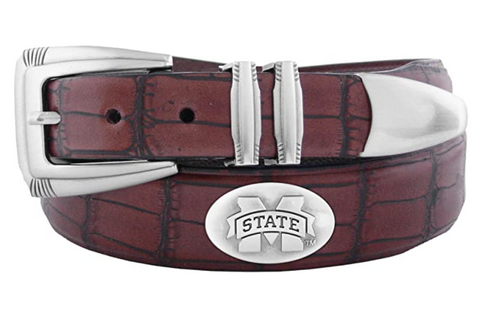 Mississippi State Bulldogs Men's Crocodile Leather Tapered Tip Belt, Brown