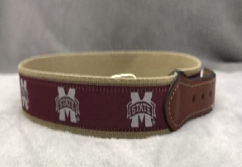 Mississippi State Bulldogs Maroon and Canvas Ribbon Belt
