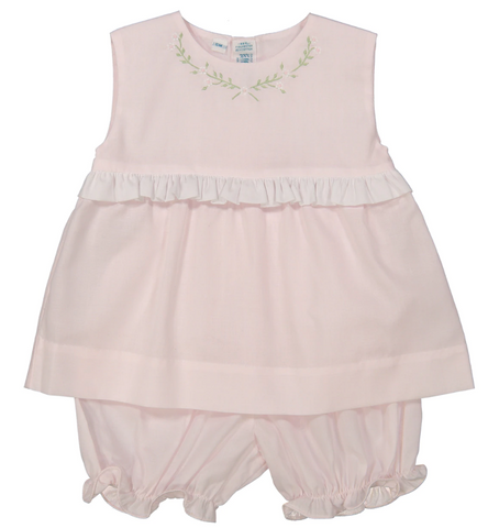Sleeveless 2-Piece Bloomer Set, Pink/White
