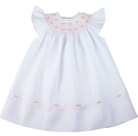 Pearl Flower Fly Sleeve Bishop Dress, White/Pink