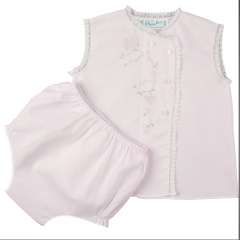 Girls Floral Lace Diaper Set, Pink