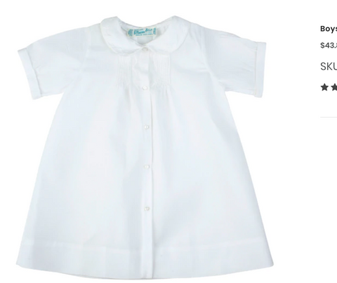 Boys Embroidered Collar Folded Daygown, White