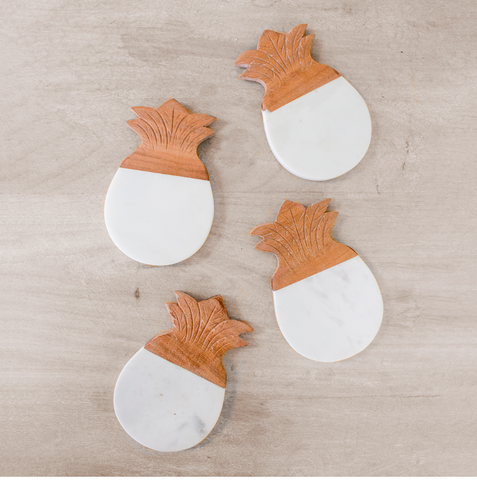 Pineapple Marble Coasters (Set of 4)