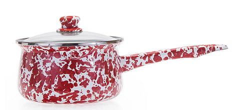 Red Swirl Sauce Pan