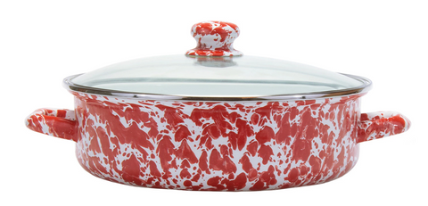 Red Swirl Small Saute Pan