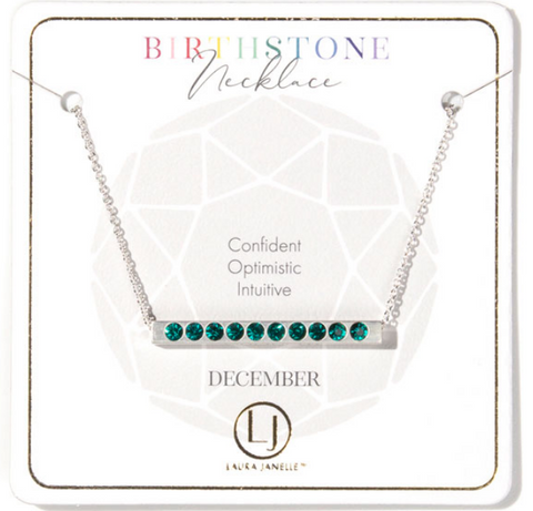 December Blue Zircon Birthstone Necklace