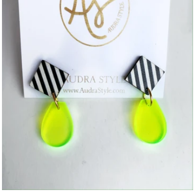 Claire Black/White Stripe with Clear Neon Yellow Earrings