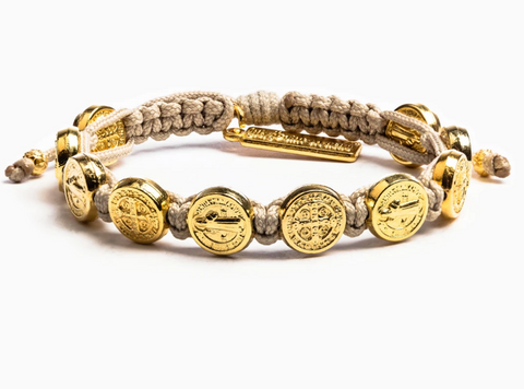 Benedictine Blessing Bracelet, Tan/Gold