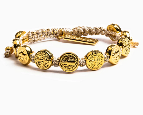 Benedictine Blessing Bracelet, Metallic Gold