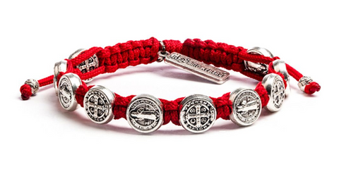 Benedictine Blessing Bracelet, Red/Silver