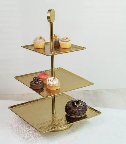 Gold Brungardt Gilded Hammered Tiered Stand