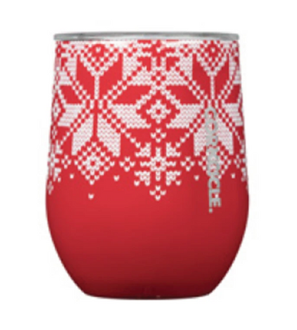 Fairisle Red Stemless Cup, 12 oz.