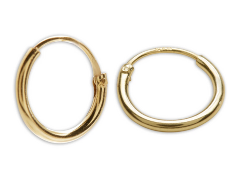 14K Gold-Plated Endless Hoop Earring, 10 mm