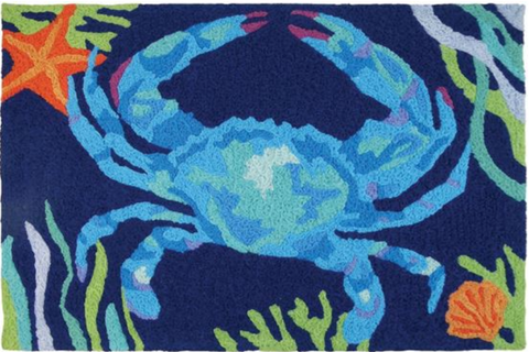 Deep Blue Crab Jellybean Rug