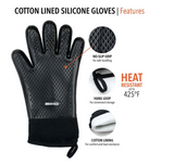 Heat Resistant Silicone + Cotton Lined Gloves, Set of 2