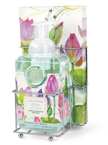 Water Lilies Foaming Hand Soap Napkin Set