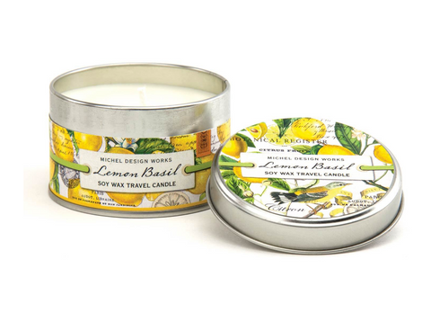 Lemon Basil Soy Wax Travel Candle