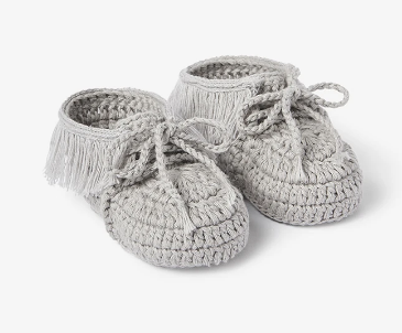 Gray Moccasin Hand Crocheted Baby Booties
