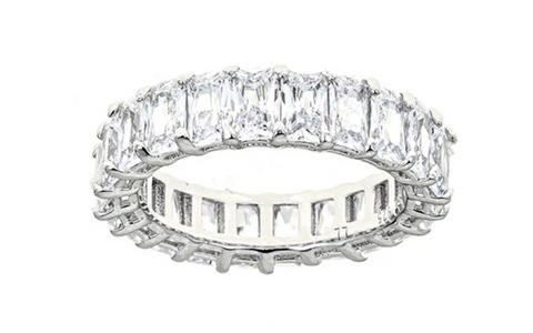 White Diamond CZ Emerald Cut Eternity Ring