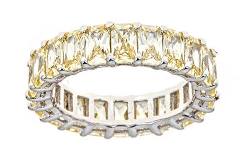 Yellow Diamond CZ Emerald Cut Eternity Ring