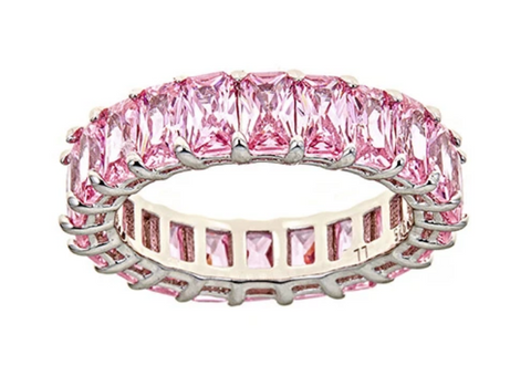 Pink Sapphire CZ Emerald Cut Eternity Ring