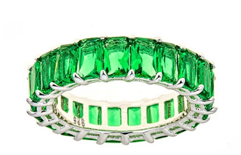 Green Emerald CZ Emerald Cut Eternity Ring