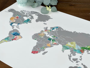 Muted Multi-Color World Map