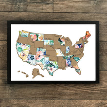 Load image into Gallery viewer, Rose Less Traveled - Gold US Scratch Off Map