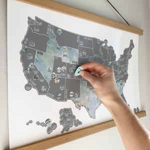National Parks Map - Silver US Scratch Off