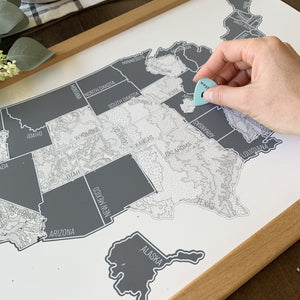 Grey Topo - US Scratch Off Map