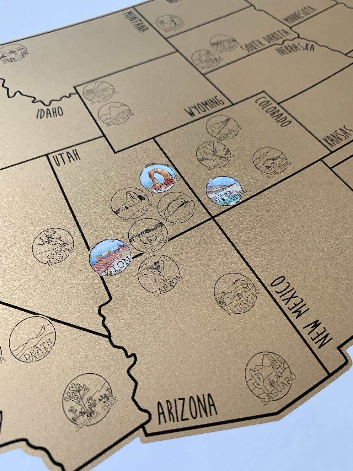 National Parks Map Gold Us Scratch Off Waypoint Wanders - National-parks-of-the-us-map
