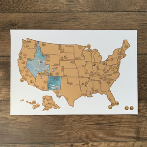 National Parks Map - Gold US Scratch Off