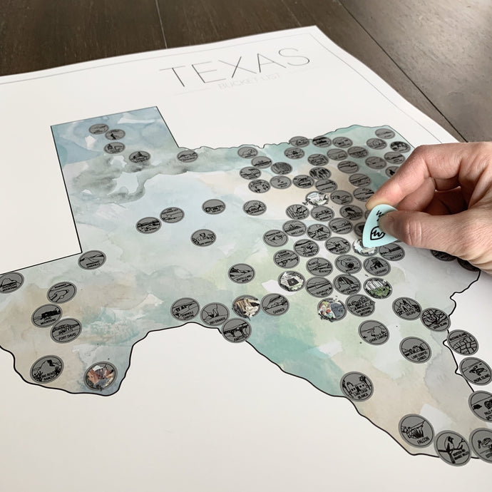 Texas State Bucket List Scratch Off Map