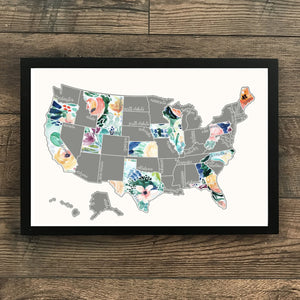 Rose Less Traveled - Silver US Scratch Off Map